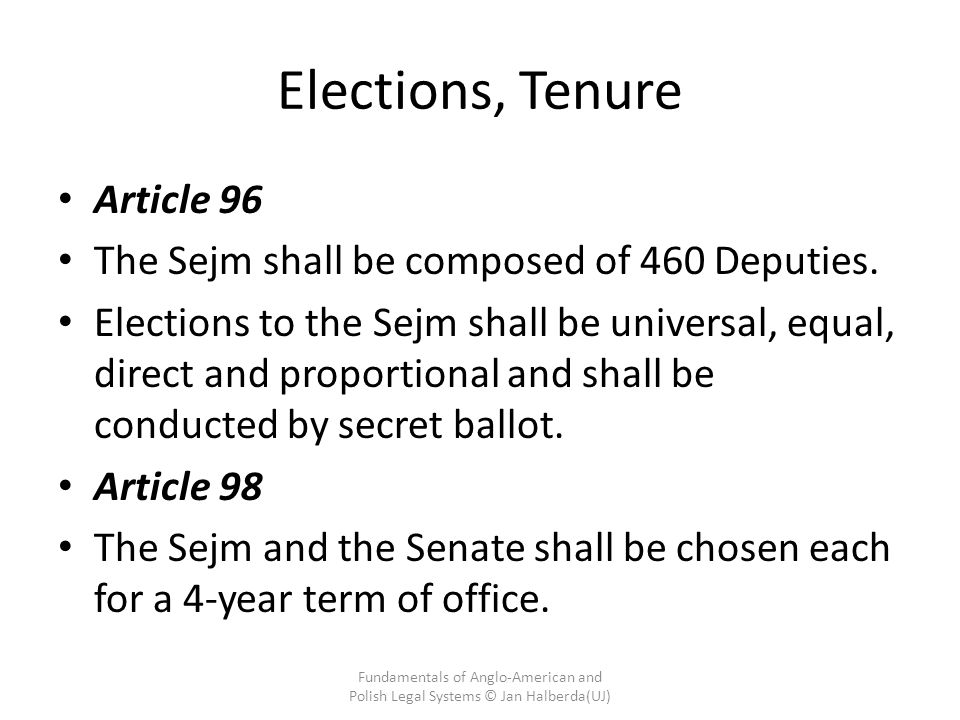 Elections, Tenure Article 96