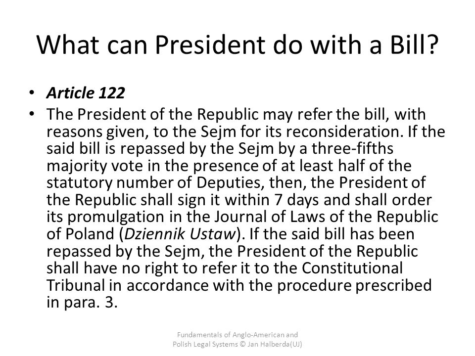 What can President do with a Bill