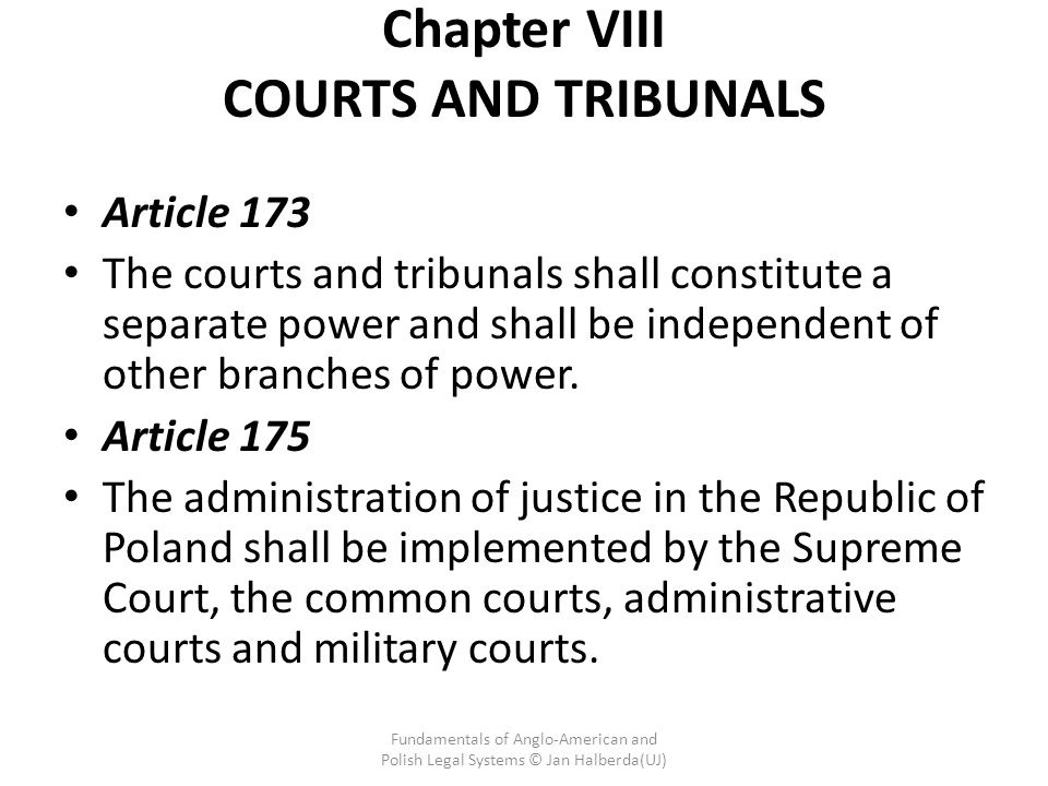 Chapter VIII COURTS AND TRIBUNALS