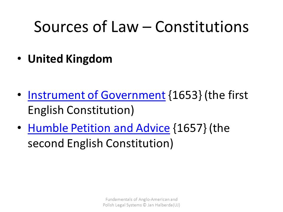 Sources of Law – Constitutions