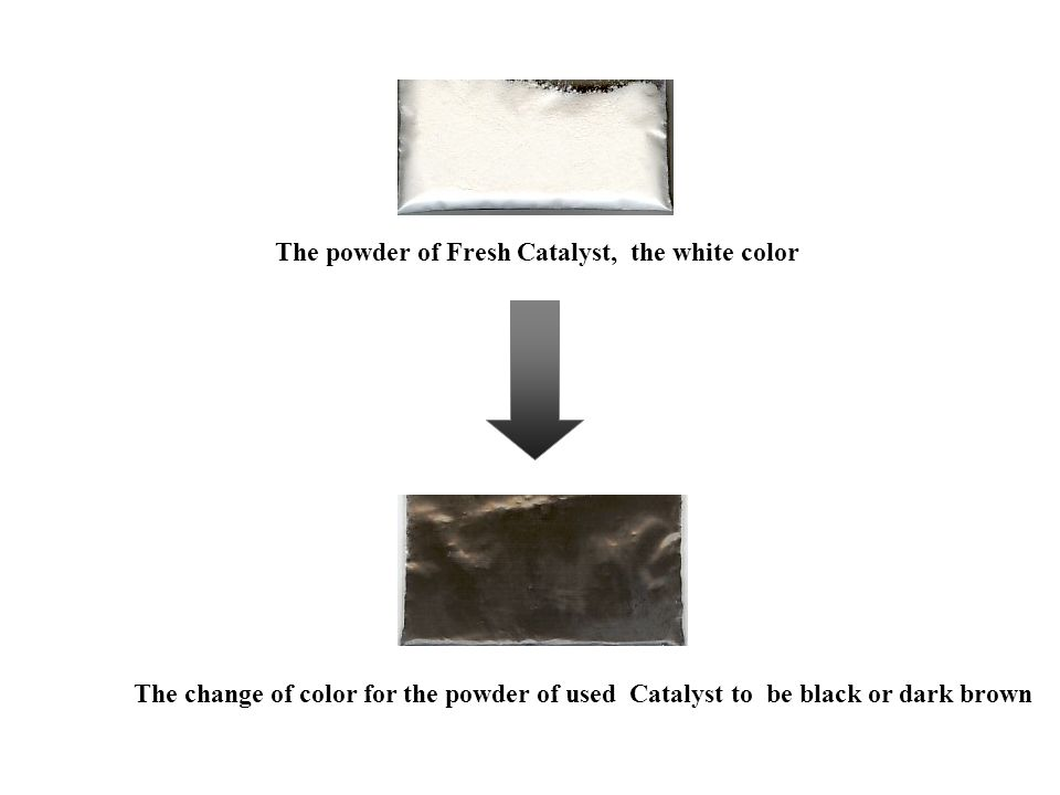 The powder of Fresh Catalyst, the white color