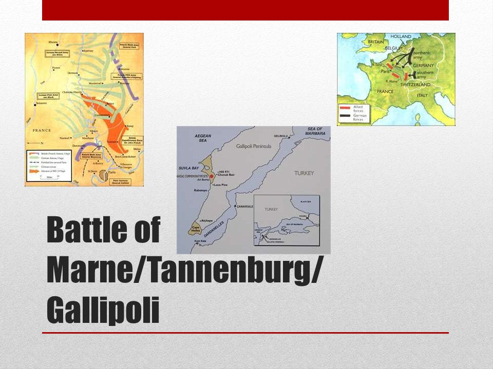 Battle of Marne/Tannenburg/ Gallipoli