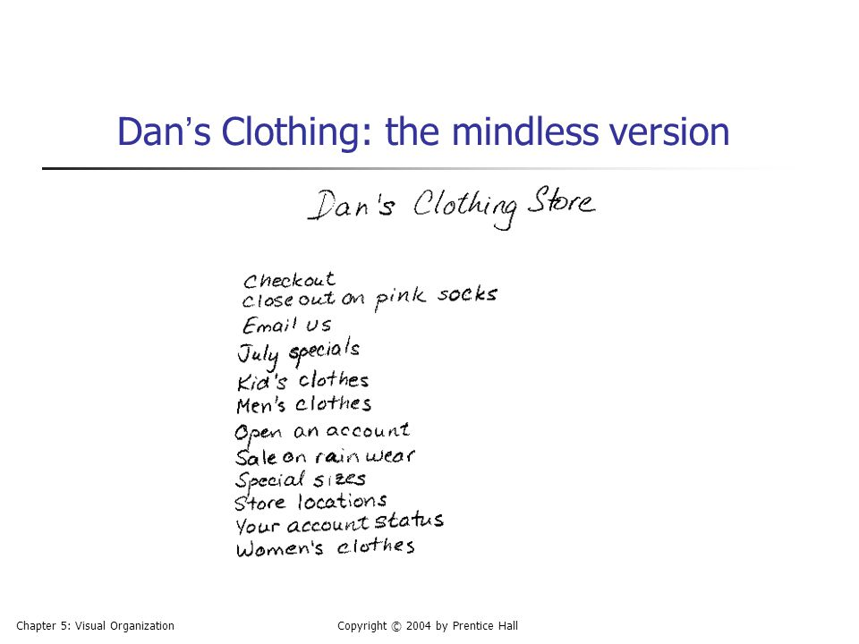 Dan's Clothing: the mindless version