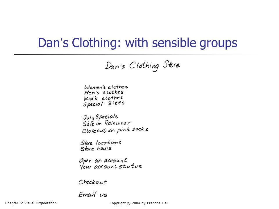 Dan's Clothing: with sensible groups