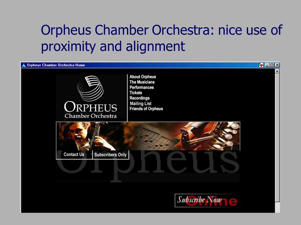 Orpheus Chamber Orchestra: nice use of proximity and alignment