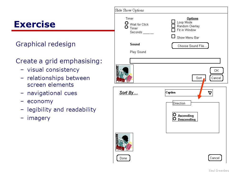 Exercise Graphical redesign Create a grid emphasising: