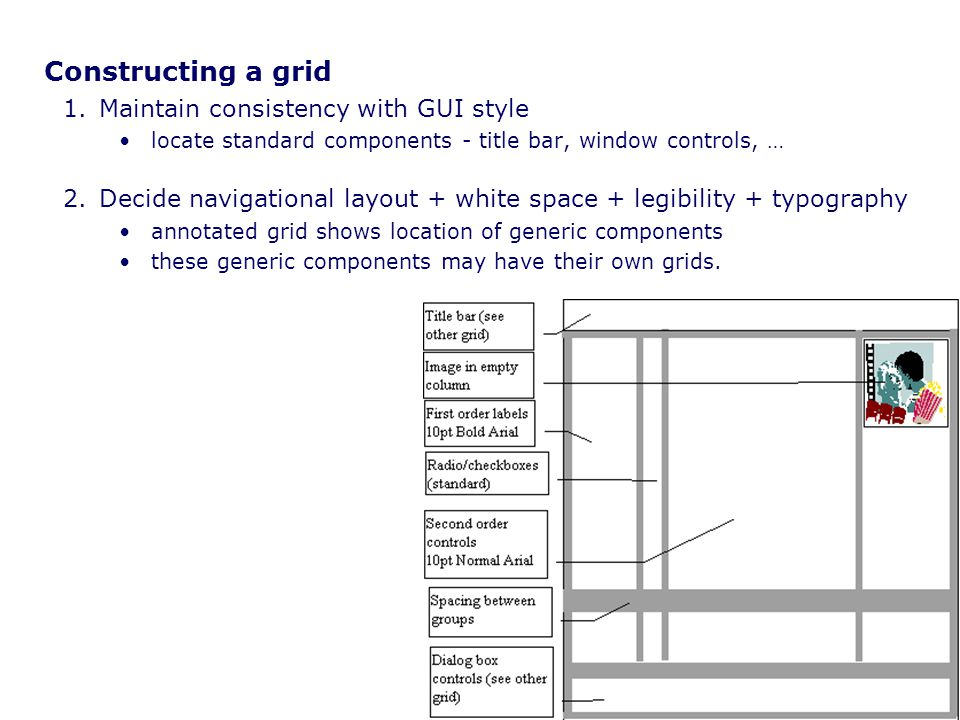 Constructing a grid Maintain consistency with GUI style
