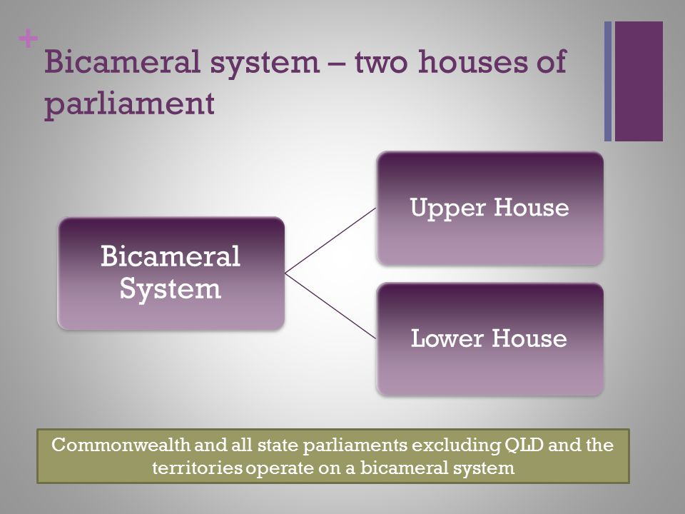 Bicameral system – two houses of parliament
