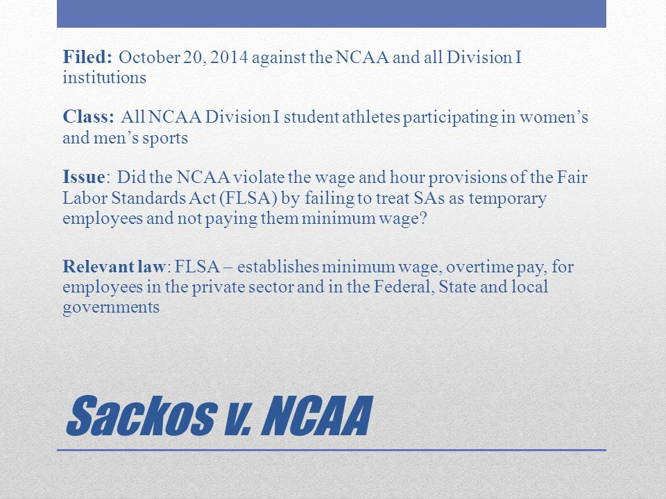 Filed: October 20, 2014 against the NCAA and all Division I institutions