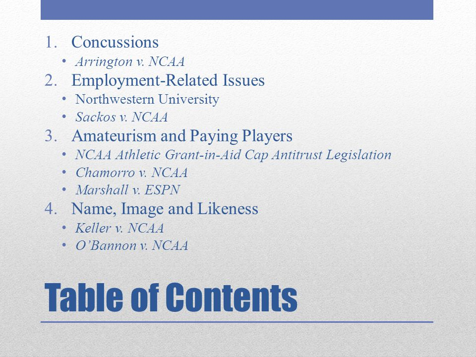 Table of Contents Concussions Employment-Related Issues