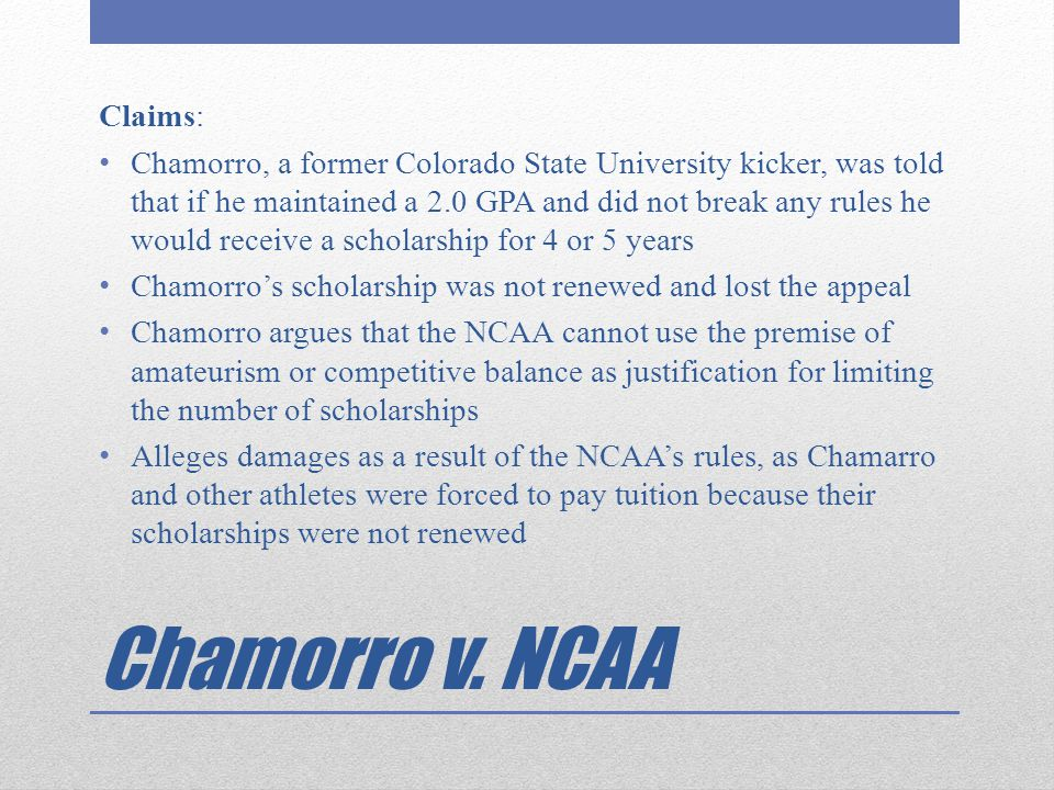 Chamorro v. NCAA Claims: