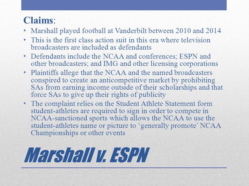Marshall v. ESPN Claims: