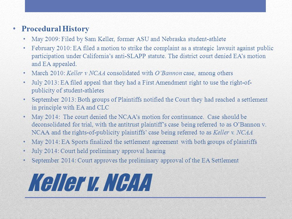 Keller v. NCAA Procedural History