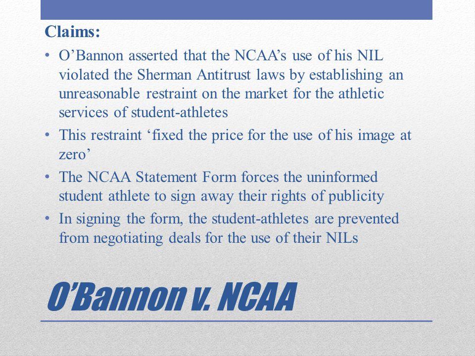 O'Bannon v. NCAA Claims: