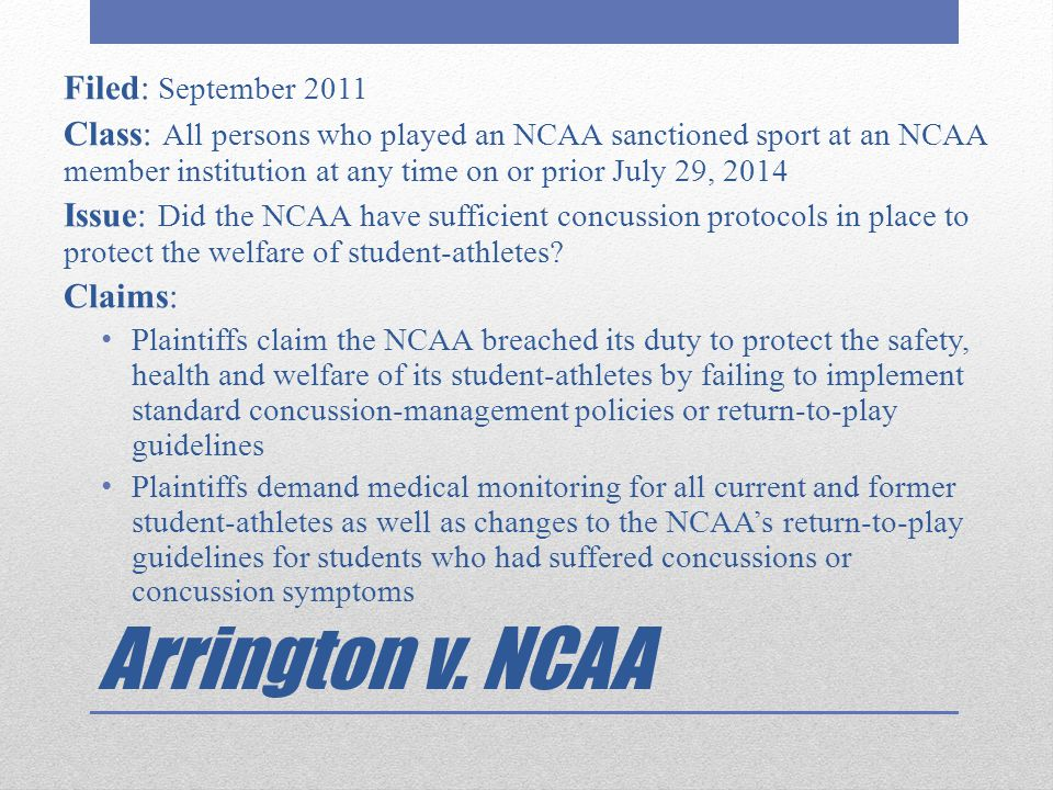 Arrington v. NCAA Filed: September 2011