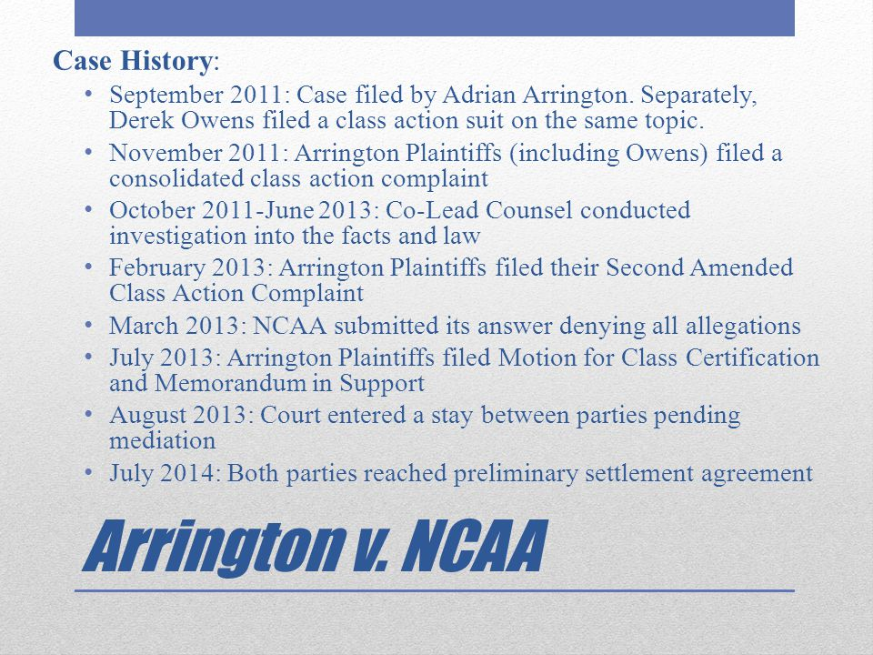 Arrington v. NCAA Case History: