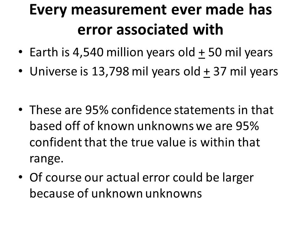 Every measurement ever made has error associated with