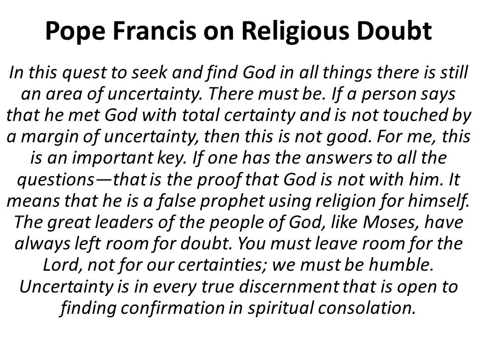 Pope Francis on Religious Doubt