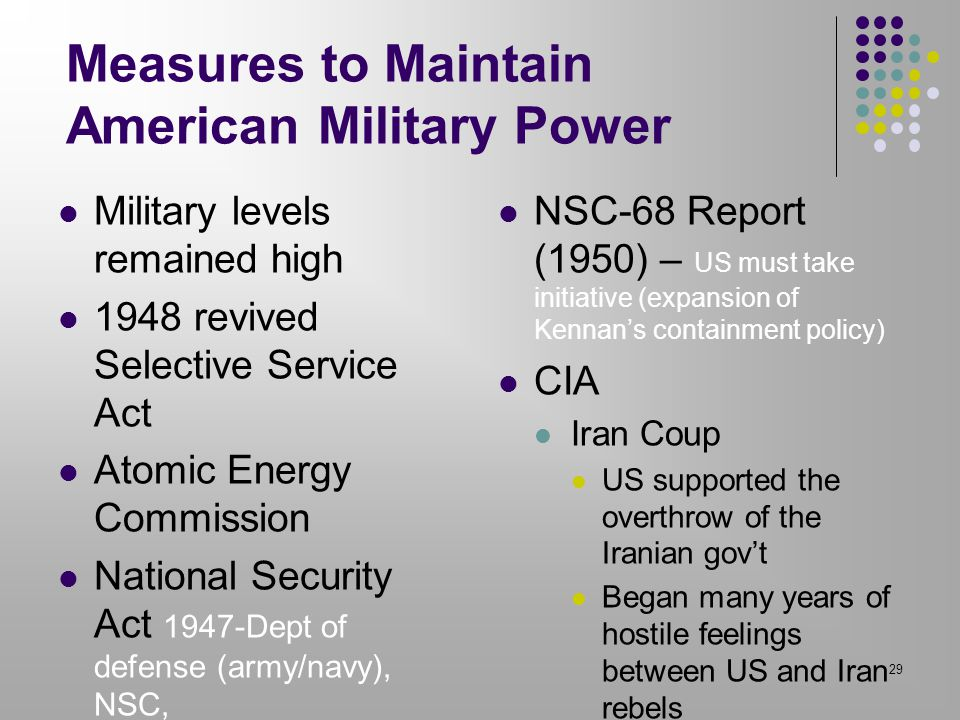 Measures to Maintain American Military Power