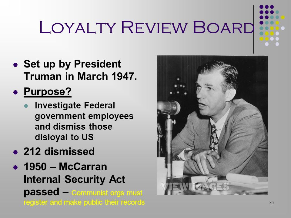 Loyalty Review Board Set up by President Truman in March 1947.