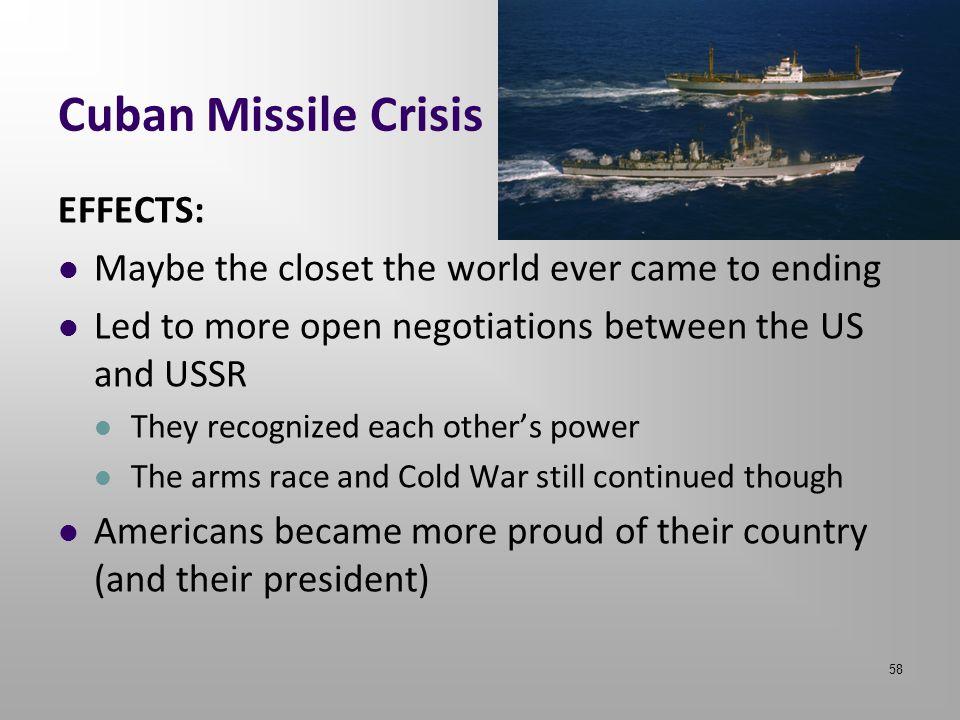 Cuban Missile Crisis EFFECTS: