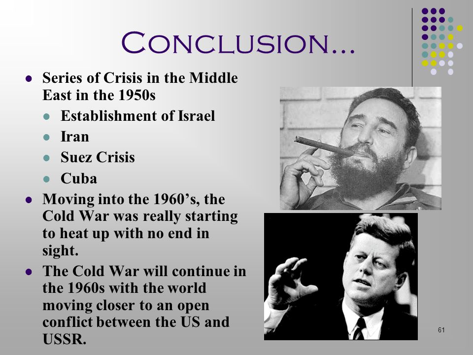 Conclusion… Series of Crisis in the Middle East in the 1950s