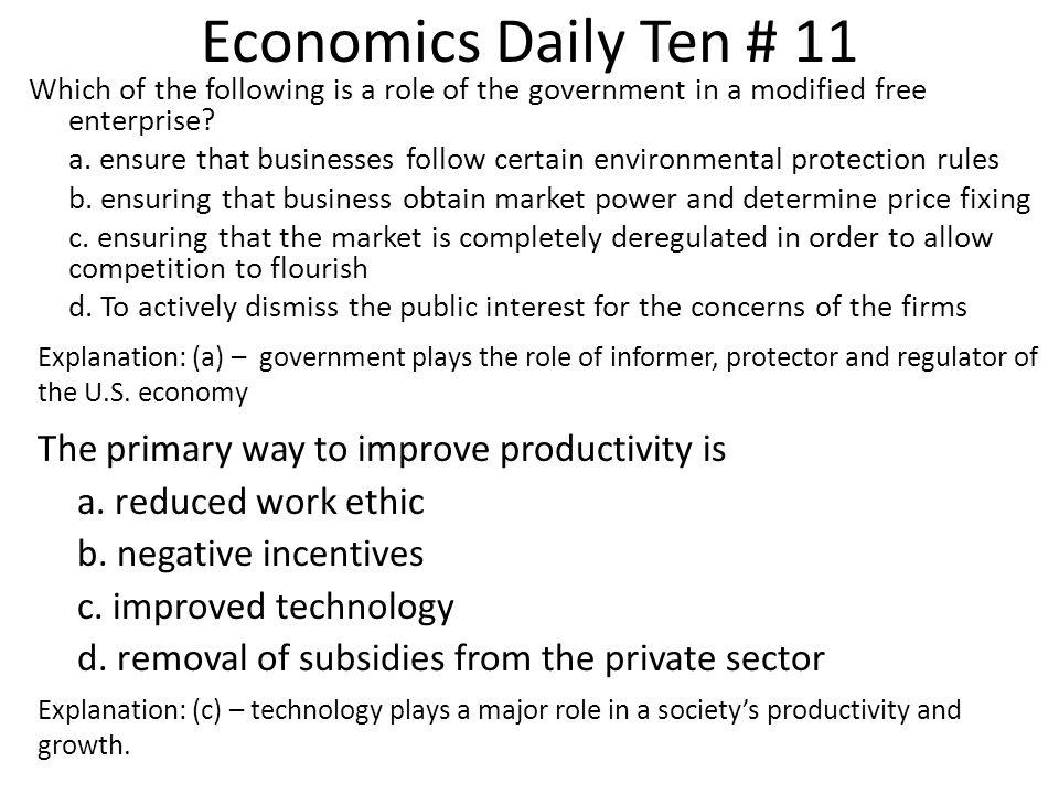 Economics Daily Ten # 11 The primary way to improve productivity is
