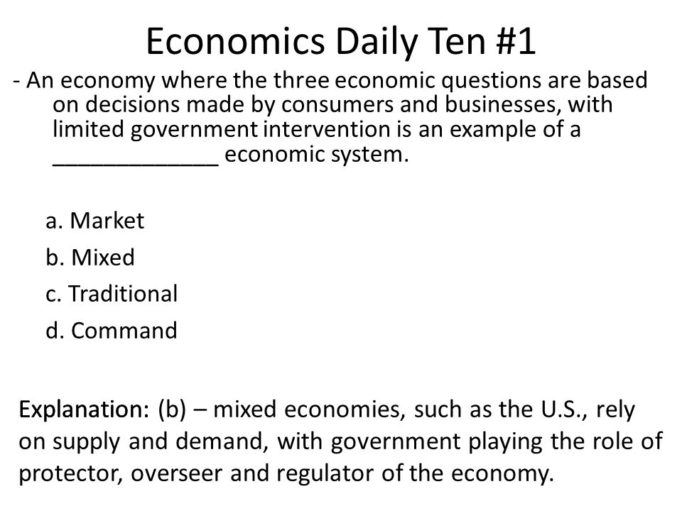 Economics Daily Ten #1 Explanation: