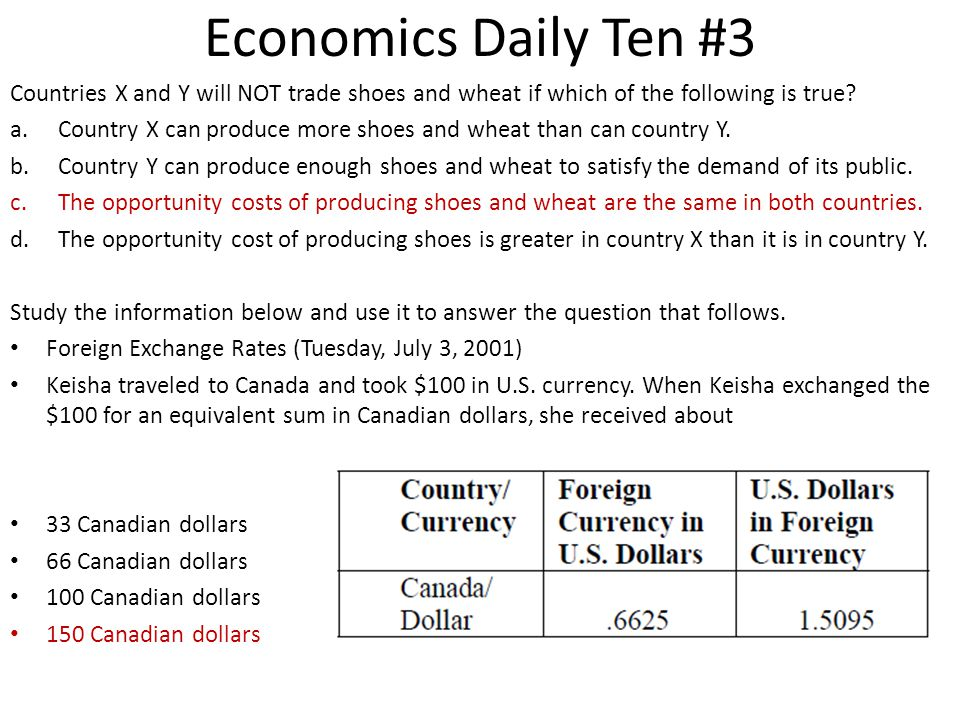 Economics Daily Ten #3 Countries X and Y will NOT trade shoes and wheat if which of the following is true