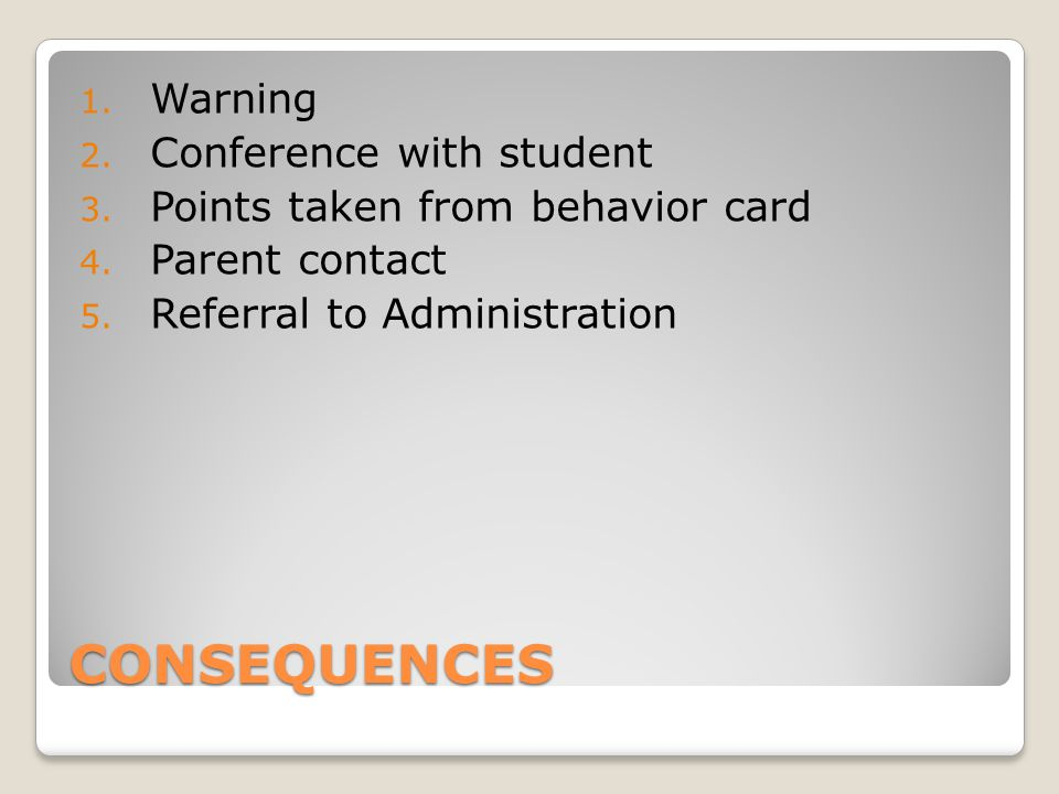 CONSEQUENCES Warning Conference with student