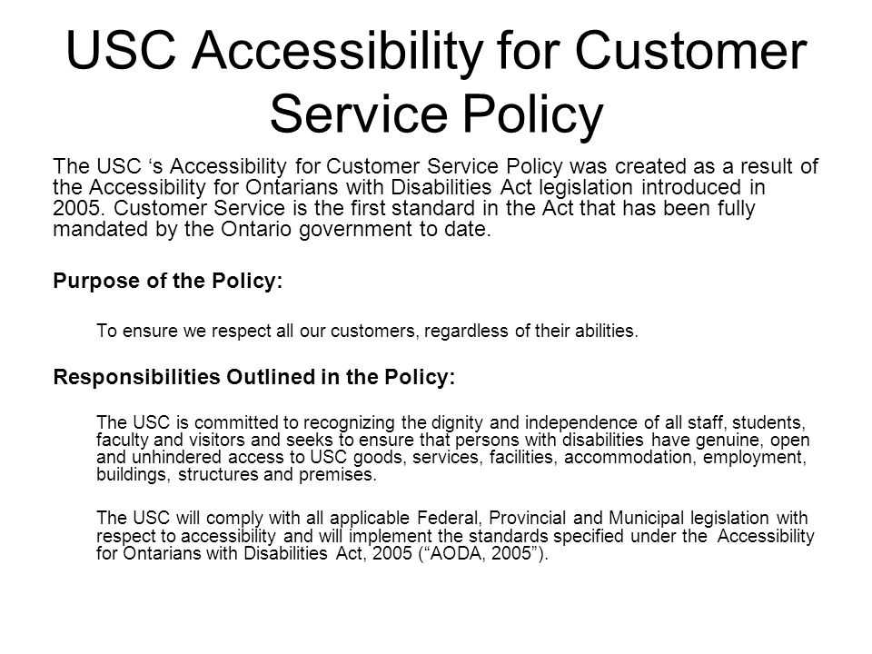 USC Accessibility for Customer Service Policy