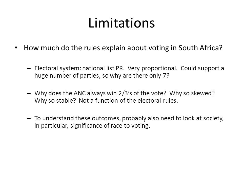 Limitations How much do the rules explain about voting in South Africa