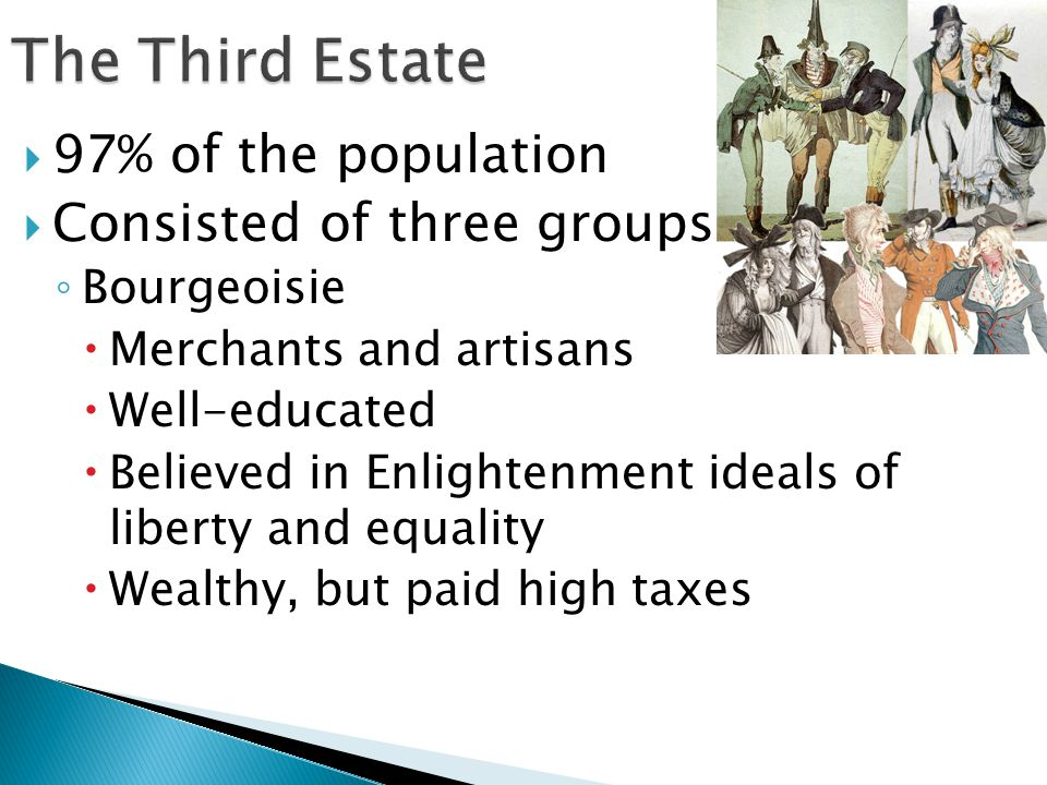 The Third Estate 97% of the population Consisted of three groups