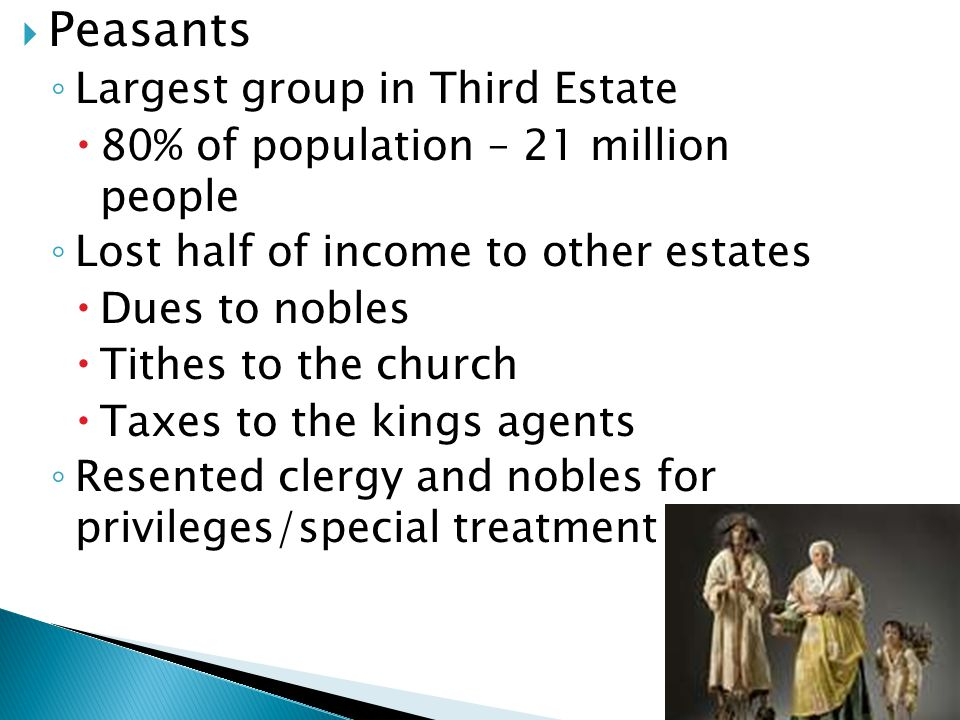 Peasants Largest group in Third Estate