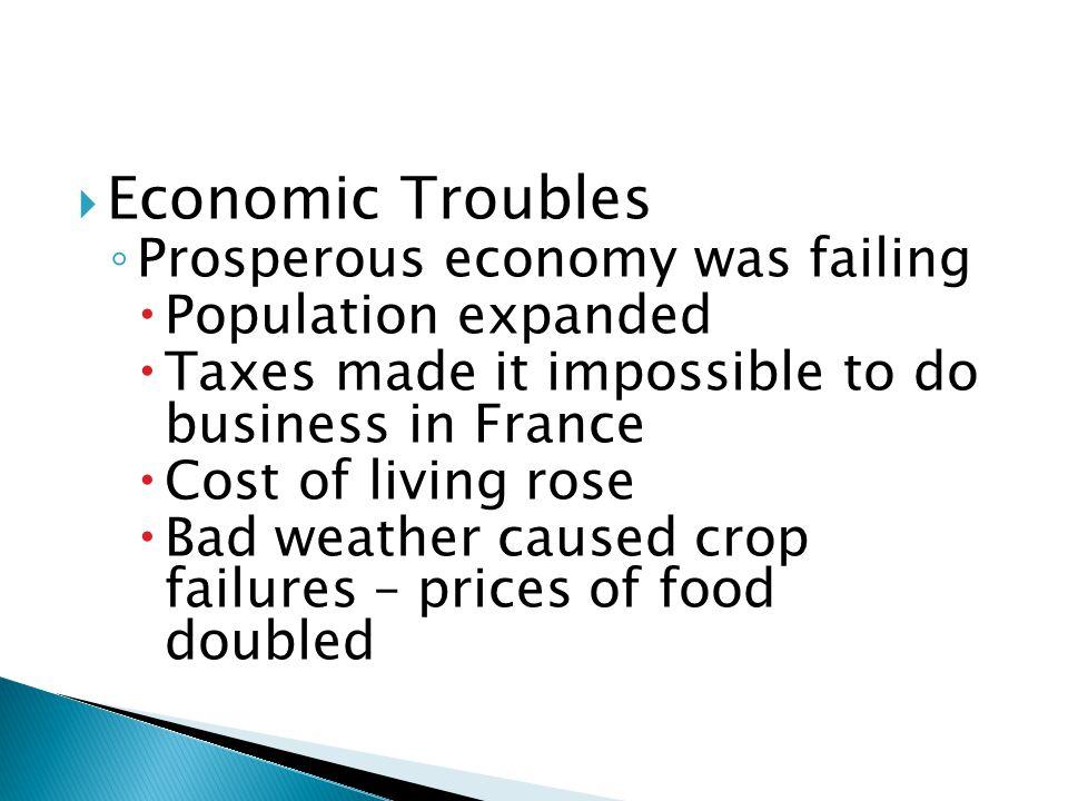 Economic Troubles Prosperous economy was failing Population expanded