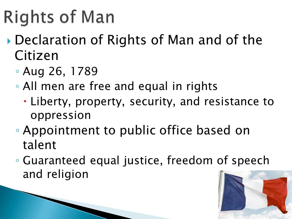 Rights of Man Declaration of Rights of Man and of the Citizen