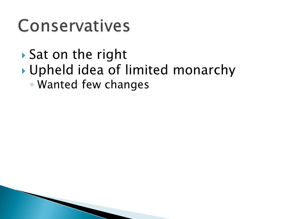 Conservatives Sat on the right Upheld idea of limited monarchy