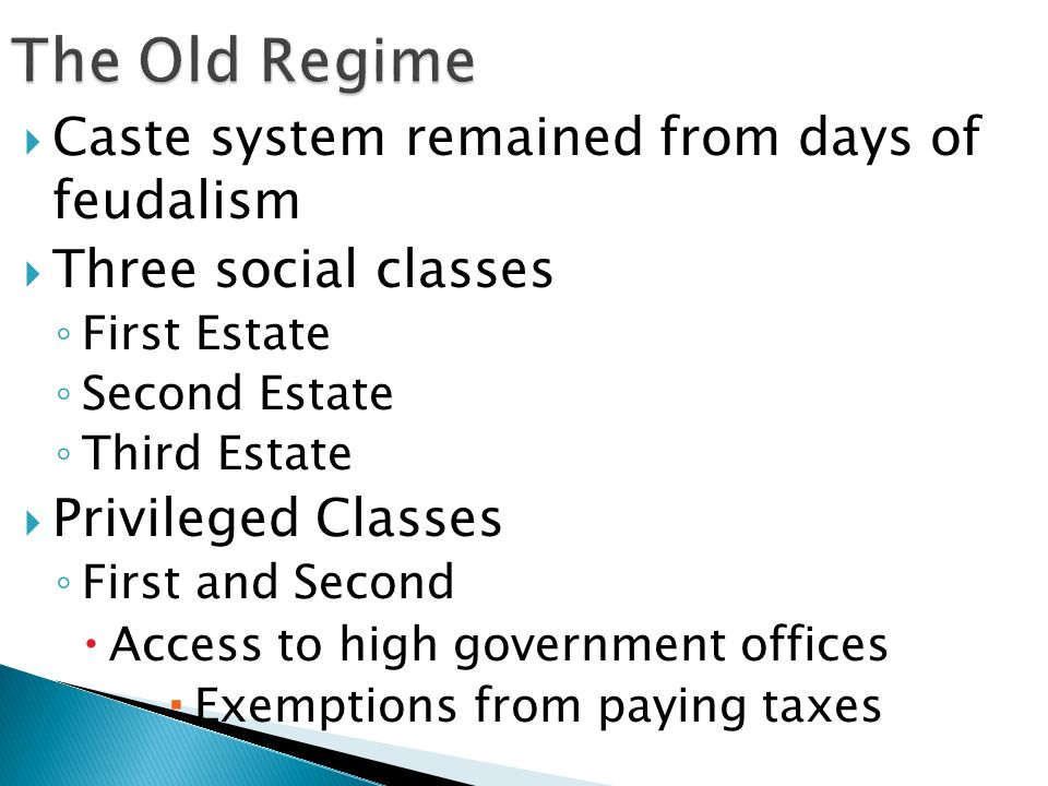 The Old Regime Caste system remained from days of feudalism