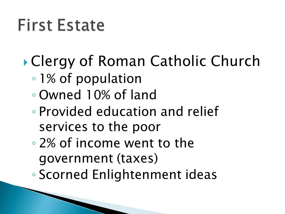 First Estate Clergy of Roman Catholic Church 1% of population