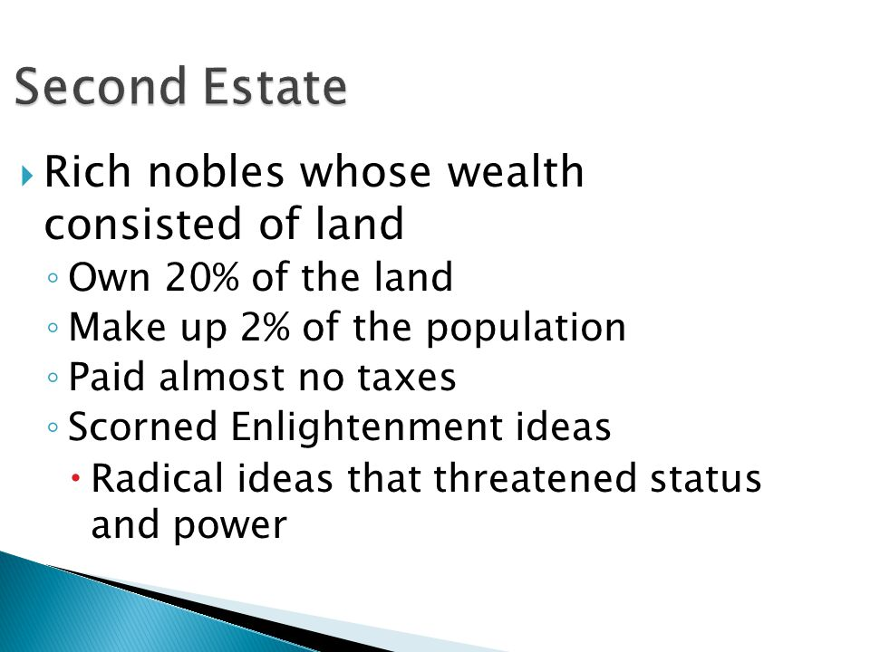 Second Estate Rich nobles whose wealth consisted of land