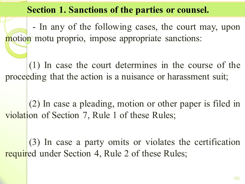 Section 1. Sanctions of the parties or counsel.