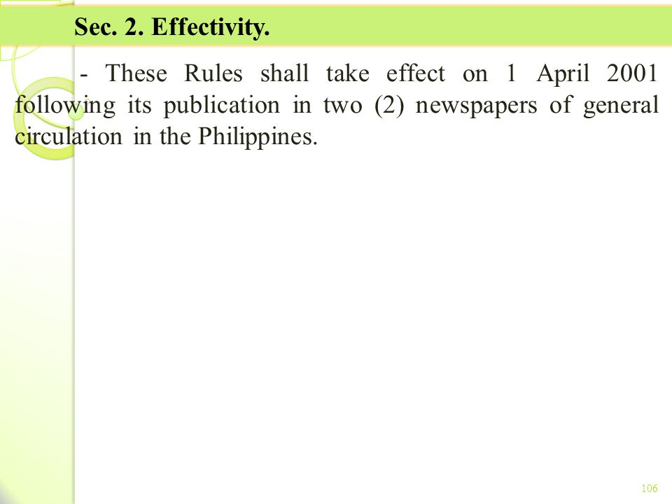 TITLE II - TAX ON INCOME Sec. 2. Effectivity.