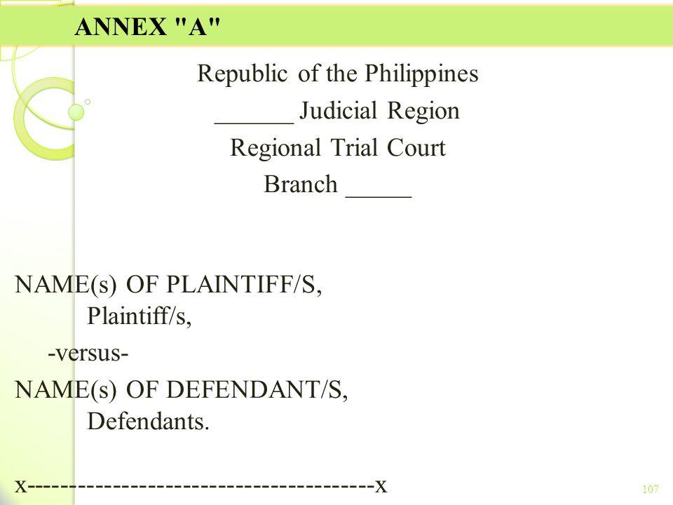 Republic of the Philippines ______ Judicial Region