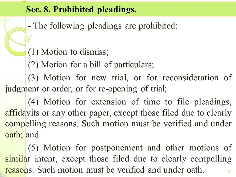 Sec. 8. Prohibited pleadings.