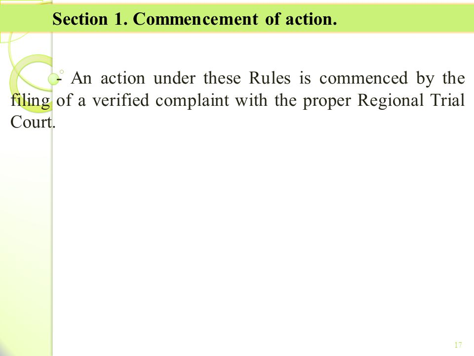 Section 1. Commencement of action.