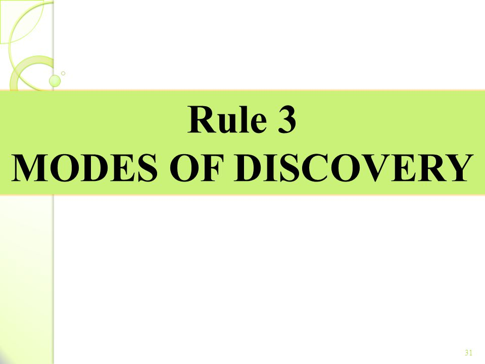 Rule 3 MODES OF DISCOVERY