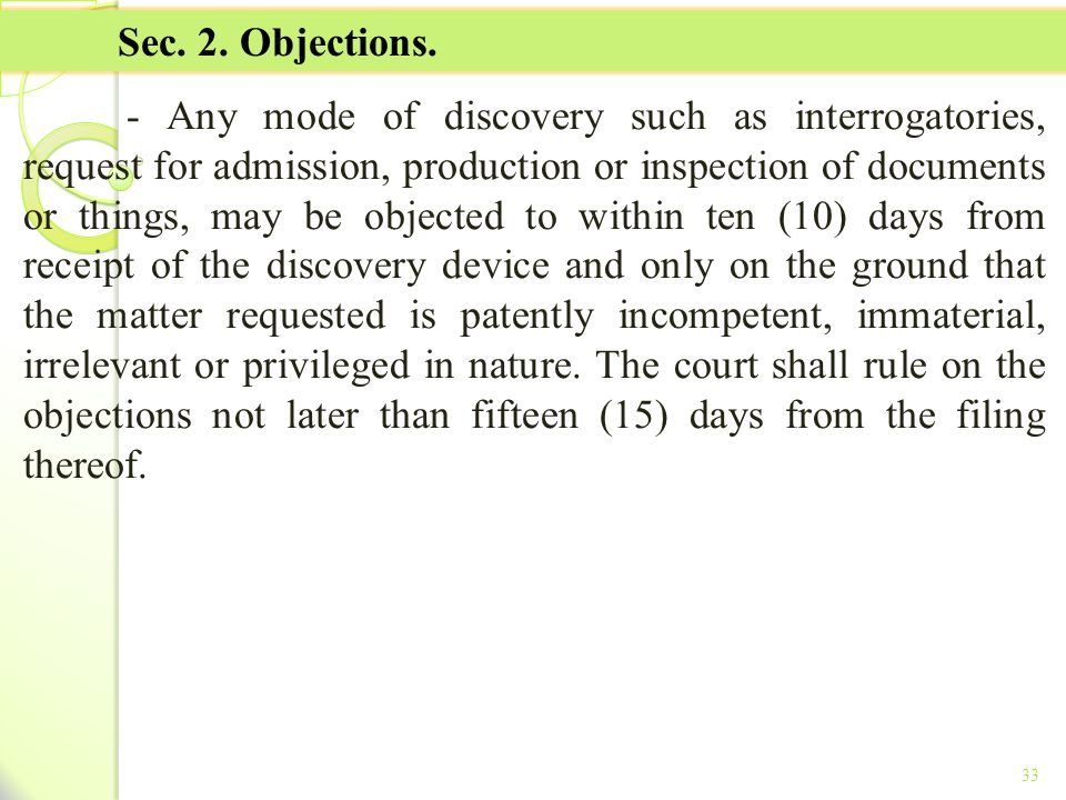 TITLE II - TAX ON INCOME Sec. 2. Objections.