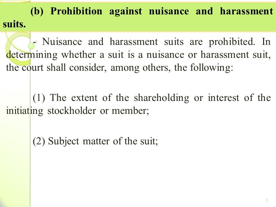 (b) Prohibition against nuisance and harassment suits.