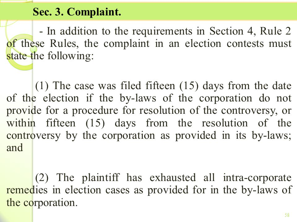 TITLE II - TAX ON INCOME Sec. 3. Complaint.