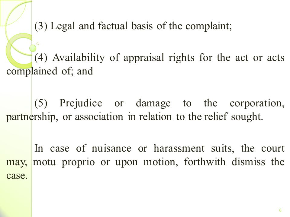 (3) Legal and factual basis of the complaint;